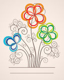 Colorful background with abstract flowers Stock Image