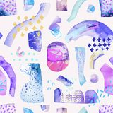 Colorful background with abstract shapes, drawing of geometric minimal grunge elements. Hand painted watercolor illustration in bauhaus, memphis and hipster Stock Photography