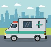 Colorful background with ambulance on the outskirts of the city. Vector illustration Royalty Free Stock Photo