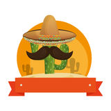 Colorful background with animated sketch cactus with mexican hat and ribbon Royalty Free Stock Images