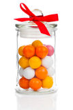 Colorful background of assorted Gumballs in  glass jar Royalty Free Stock Photo