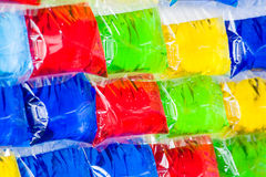 Colorful background. Bags filled with colorful fluid color as a decoration background Royalty Free Stock Image