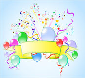 Colorful background with balloons. And ribbons Royalty Free Stock Images
