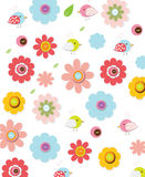 Colorful background. Beautiful colorful background with decorative flowers and birds, for children, you can use for printing on fabric Stock Photos