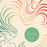 Colorful background with beautiful girl with long wavy hair. Beautiful girl with long wavy hair. Colorful background in linear style with gradient. Hand drawn Stock Photo