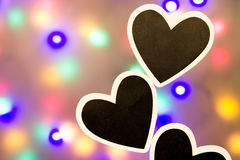 Colorful background with black hearts Royalty Free Stock Photography