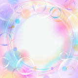 Colorful background with bubbles, lights, circles and empty space. Pastel color backdrop. Vector illustration. Stock Images