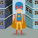 Colorful background buildings brick facade with superhero man with costumes and complete mask. Vector illustration Royalty Free Stock Photography