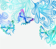 Colorful background with butterfly and floral ornament Stock Images