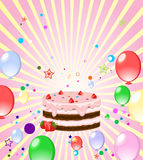 Colorful background with cake. And  balloons Royalty Free Stock Images