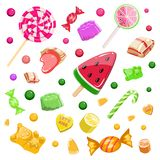 Colorful background with candies, caramel, marmalade, ice cream vector illustration