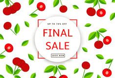The colorful background with cherry. Final Sale poster, banner Stock Photo