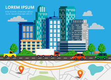 Colorful background with city skyline, traffic jam and city map. Top view city map with cars, truck and navigation pin for web banners, info graphic and royalty free illustration