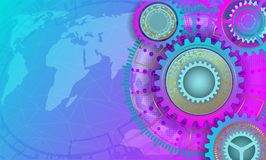 Colorful background with cogs and gears. Colorful abstract background with cogs and gears.Vector illustration Royalty Free Illustration