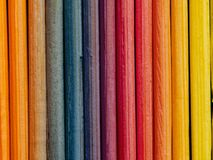 Colorful background created from pieces of wood. close-up small boards stock photo
