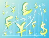 Colorful background of currency symbols and graphs Stock Photography