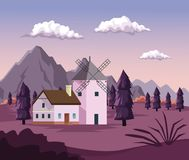 Colorful background with dawn landscape of field mountains and house with windmill. Vector illustration Stock Image