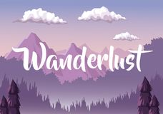 Colorful background with dawn landscape with mountain valley covered by haze with text wanderlust. Vector illustration vector illustration