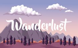 Colorful background with dawn landscape of mountain and valley of trees with text wanderlust. Vector illustration Royalty Free Stock Image