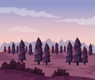 Colorful background with dawn landscape of valley with trees. Vector illustration Stock Photo