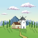 Colorful background with daytime landscape of field mountains and house with windmill. Vector illustration Royalty Free Stock Photography