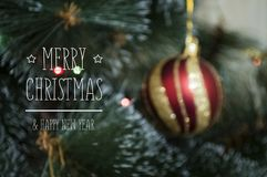 Colorful background with decorated Christmas tree Stock Photo