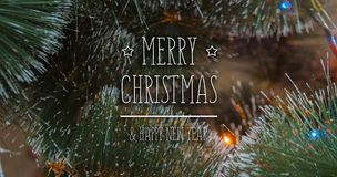 Colorful background with decorated Christmas tree Stock Photos
