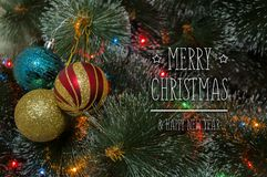 Colorful background with decorated Christmas tree Stock Image