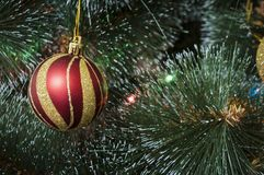 Colorful background with decorated Christmas tree Royalty Free Stock Photos
