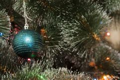 Colorful background with decorated Christmas tree Royalty Free Stock Photography