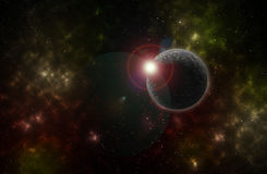 Colorful background of a deep space star field and planet. Flare Stock Image