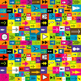 Colorful background with different kinds of arrows Stock Photo