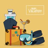 Colorful background of enjoy vacation with luggage and cruise ship and cocktail and snorkel and fins. Vector illustration Royalty Free Stock Image