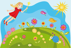 Colorful background fairy with flowers. Vector background fairy with flowers Stock Photo