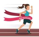 Colorful background with female athlete running in track and crossing the finish line. Vector illustration Royalty Free Stock Photography