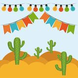 Colorful background with festive decoration outdoor. Vector illustration Royalty Free Stock Photo