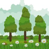 Colorful background of field with daisy flowers and forest landscape. Vector illustration Stock Image
