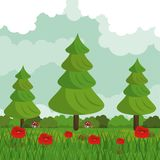 Colorful background of field with red flowers and forest landscape. Vector illustration Royalty Free Stock Photography