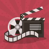 Colorful background with film reel and clapperboard. Vector illustration Stock Photos