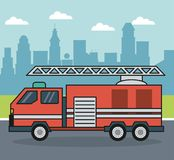 Colorful background with firetruck on the outskirts of the city. Vector illustration Stock Images