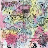 Background with fishes and jellyfish stock illustration