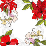 Colorful background with flowers. Universal template for greeting card, web page, background Royalty Free Stock Photo