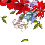 Colorful background with flowers. Universal template for greeting card, web page, background Royalty Free Stock Images