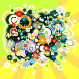 Colorful background with flowers and circles. Abstract colorful background with flowers and circles vector illustration