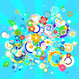 Colorful background with flowers and circles. Abstract colorful background with flowers and circles stock illustration
