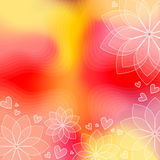 Colorful background with flowers and hearts. Colorful red and orange background with white flowers and hearts Royalty Free Stock Photos