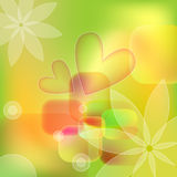 Colorful background with flowers and hearts. Colorful green, orange, yellow and white background with flowers and hearts Stock Photo