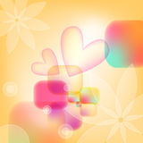 Colorful background with flowers and hearts Royalty Free Stock Photos