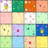 Colorful background with flowers and hearts. Vector illustration Royalty Free Stock Images