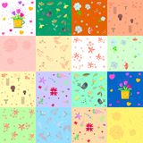 Colorful background with flowers and hearts. Vector illustration Stock Images